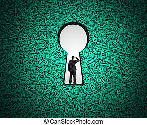 Keyhole on green big data background with businessman standing.