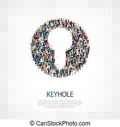 keyhole people sign - Isometric set of styles, keyhole , web...