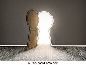 Keyhole shaped doorway in dark grey room