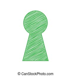 Keyhole sign illustration. Green scribble Icon with solid contour on white background. Illustration.