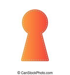 Keyhole sign illustration. Orange applique isolated.