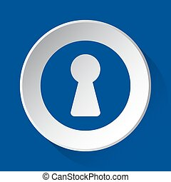 keyhole - simple blue icon on white button