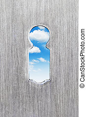 keyhole and blue sky inside