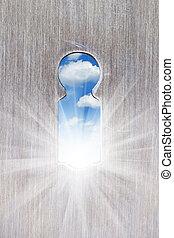 keyhole - sun ligth from keyhole closeup