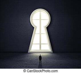 keyhole - businessman in room looking to window if form...