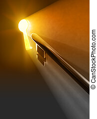 Warm light passing through a keyhole. Digital illustration.