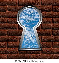 keyhole with a kind on blue sky