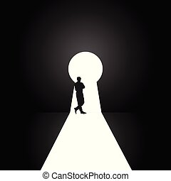 keyhole with man pose silhouette illustration