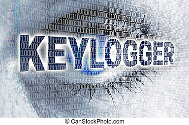 Keylogger eye with matrix looks at viewer concept