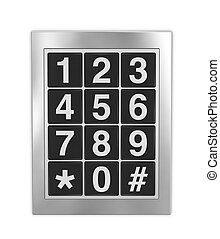 keypad - frontal view of a keypad as that used on doors,...