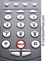 Keypad of a telephone with a red button for help