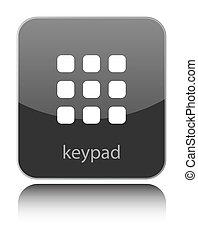 Keypad sign on black glossy button