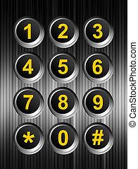 Keypad - Yellow numbers keypad over chrome background. ...
