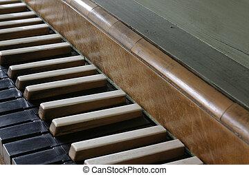 keys - a detail view of an old organ
