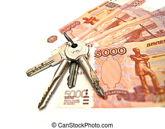 Keys and banknotes of Russia