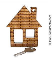 keys and house on white background. isolated 3d illustration