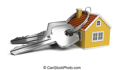 keys and house - large keys next to a small house. 3d image....