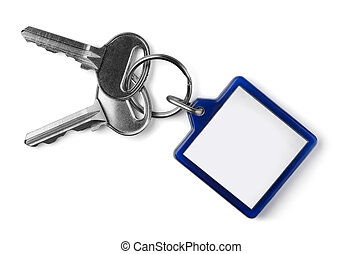 Keys and key fob - Two silver keys with blank key fob ...
