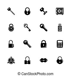 Keys and Locks - Flat Vector Icons