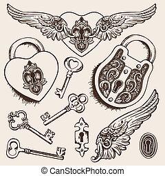 Keys and locks Vector illustration. Heart shaped padlock...