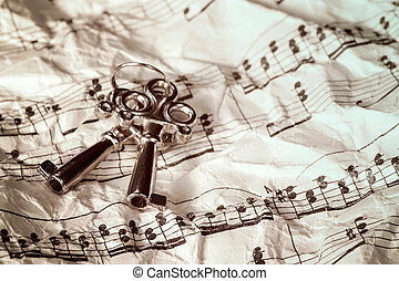 Keys and music notes