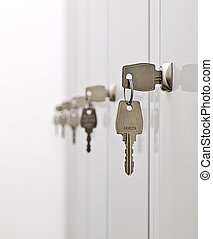 Keys and the locker doors - Keys in the row hanging from the...