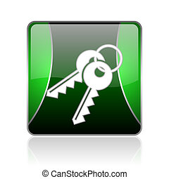 keys black and green square web glossy icon