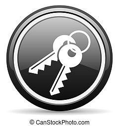 keys black glossy icon on white background