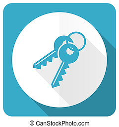 keys blue flat icon