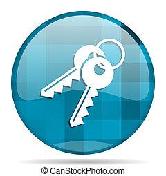 keys blue round modern design internet icon on white background