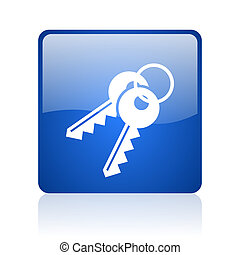 keys blue square glossy web icon on white background