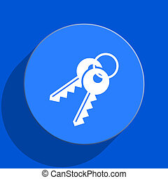 keys blue web flat icon - blue web pushbutton