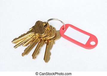 Keys - Brass keys on ring with a red tab.