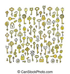 Keys collection, sketch for your design