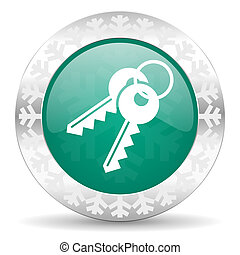 keys green icon, christmas button