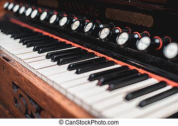Keys harmonium with a shallow depth of field