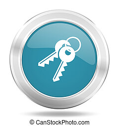 keys icon, blue round glossy metallic button, web and mobile app design illustration