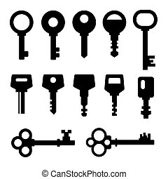 Keys icons - Old and New Keys set - vector silhouette