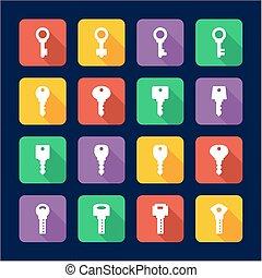Keys Icons Flat Design