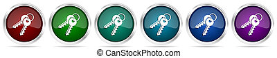 Keys icons, set of silver metallic glossy web buttons in 6 color options isolated on white background