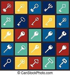 Keys icons set on color squares background for graphic and web design, Modern simple vector sign. Internet concept. Trendy symbol for website design web button or mobile app.