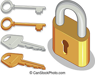 Keys & Lock or Padlock - A vector image of keys and padlock...