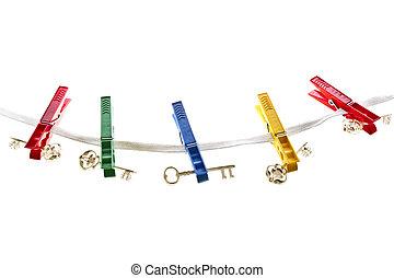 Keys on a clothesline