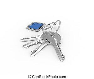 Keys on a keyring with blue pendant