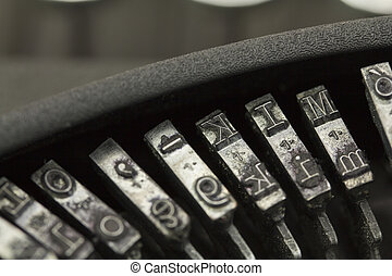Keys on an old vintage type writer