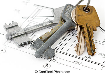 Keys on architectural blueprint