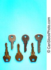 Keys On Blue Paper