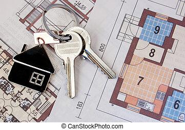 keys on blueprint - Keys with home on blueprints