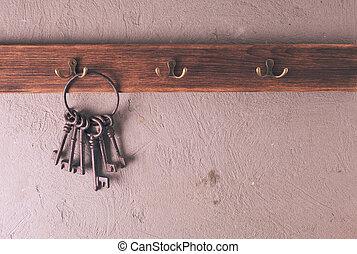 Keys on hooks