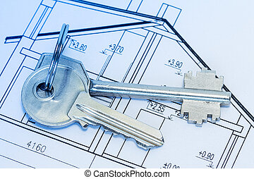 Keys on house blueprints